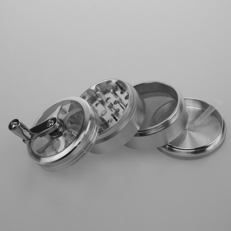 Four piece grinder with handle - metallic